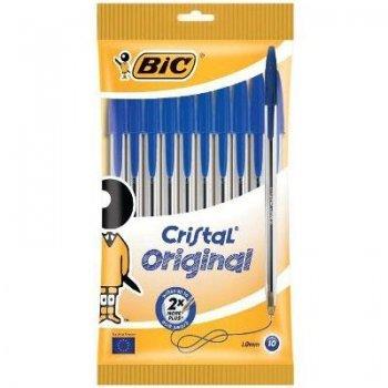 10 boligrafo bic cristal azul blist
