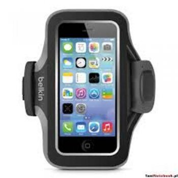 Brazalete deportivo Belkin Slim-Fit Negro/Gris para iPhone SE/5/5s/5c
