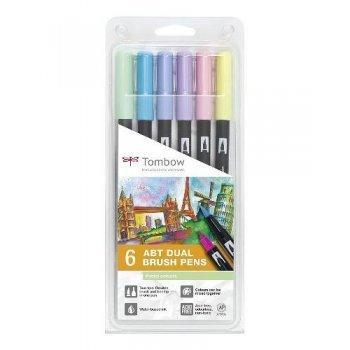 Tombow ABT- 6P rotuladores Dual Brush Pen con dos puntas - 6 unidades color pastel