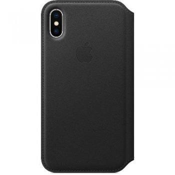 Funda Apple Leather Folio Negro para iPhone X