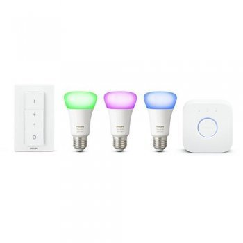 Kit Philips Hue White and Color Ambiance (3 bombillas E27 + puente + interruptor) Blanco