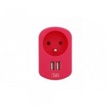 T'nB Cargador 2 en 1 USB rosa