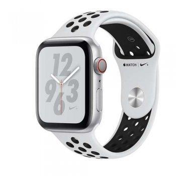 Apple Watch S4 Nike+ LTE 44 mm Caja de aluminio en plata y correa Nike Sport Platino puro/Negro