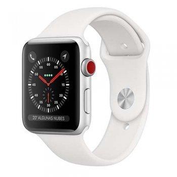 Apple Watch S3 38mm LTE Caja de aluminio en plata y correa deportiva blanca