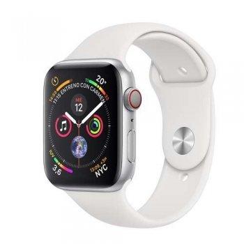 Apple Watch S4 40mm LTE Caja de aluminio en plata y correa deportiva Blanca