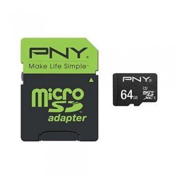 Tarjeta MicroSD PNY C10 64GB + Adaptador SD