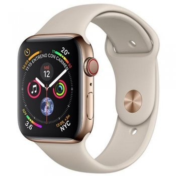 Apple Watch S4 44mm LTE Caja de acero inoxidable en oro y correa deportiva en color Piedra