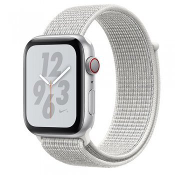 Apple Watch S4 Nike+ LTE GPS 44 mm Caja de aluminio en plata y correa Loop Nike Sport Blanco polar