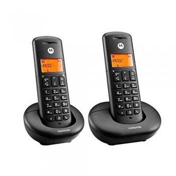 Teléfono inalámbrico Motorola Dect E202 Duo Negro