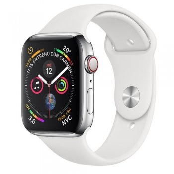 Apple Watch S4 44mm LTE Caja de acero inoxidable en plata y correa deportiva Blanca