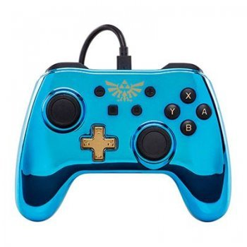 Mando Power traveller Logo Zelda Cromado Azul para Nintendo Switch
