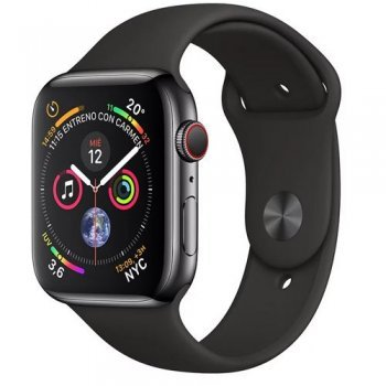 Apple Watch S4 44mm LTE Caja de acero inoxidable en negro espacial y correa deportiva negra