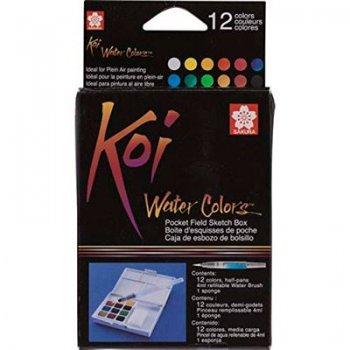Caja de plástico de 12 acuarelas y Pincel rellenable Sakura multicolor