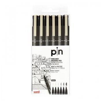 6rotuladores negro pin 200