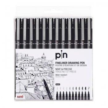12rotuladores negro pin 200