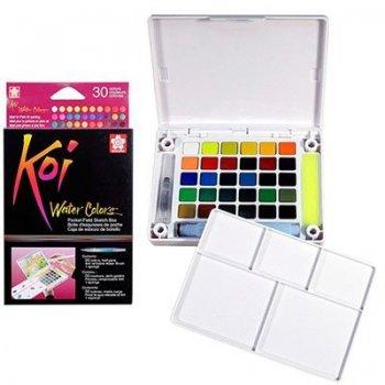 30 pastillas acuarela Sakura Koi multicolor + pincel rellenable