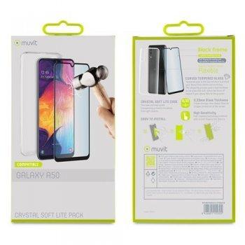 Funda Muvit Cristal Transparente + Protector de pantalla Cristal templado Marco negro para Samsung Galaxy A50