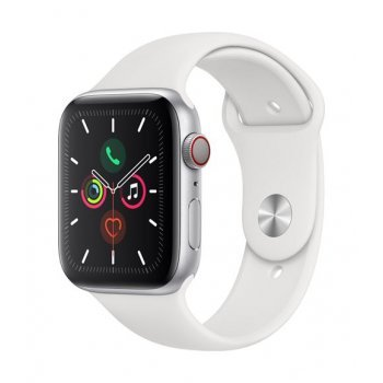 Apple Watch S5 44 mm LTE Caja de aluminio en plata y Correa deportiva Blanco