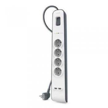 Belkin BSV401VF2M Regleta (4 tomas, 2 USB, 2 metros)